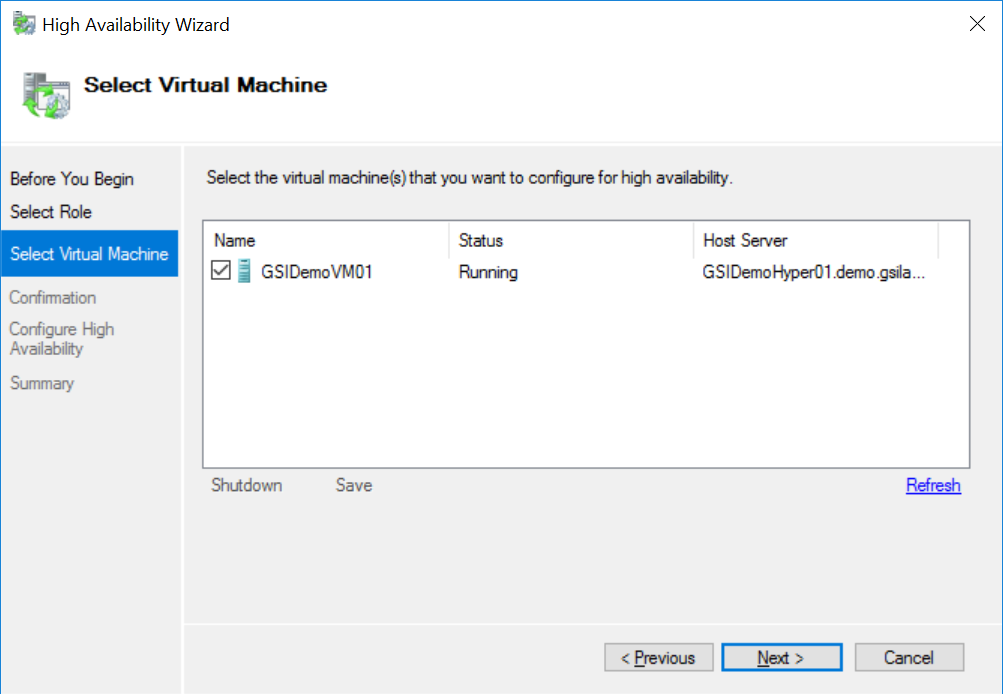 Hyper-V High Availability Wizard