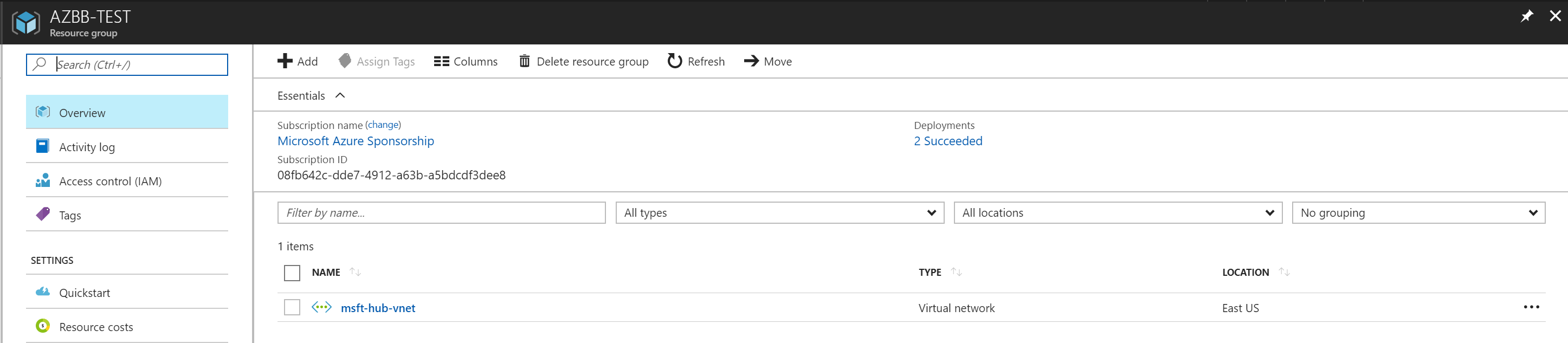 Azure Building Blocks - Deployment Results