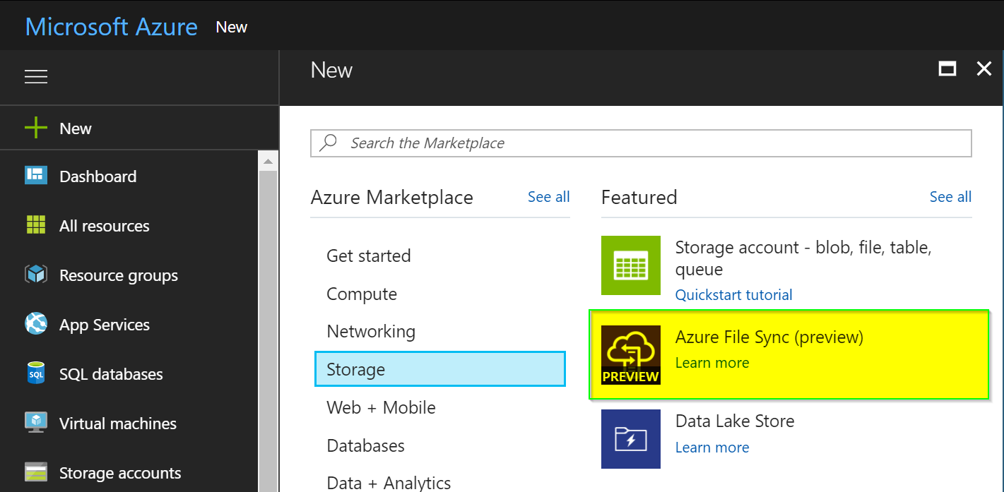 Azure File Sync - New