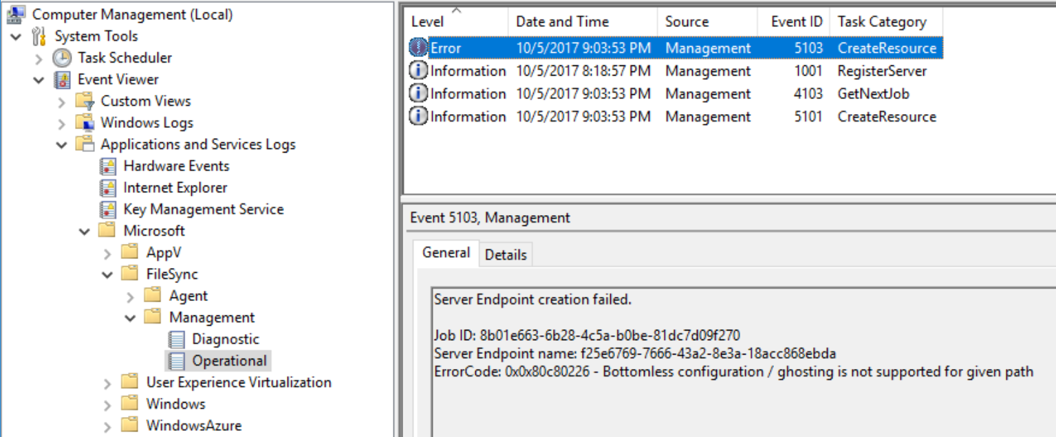 Azure File Sync - Server Endoing - Provision Fail - EventViewer Error