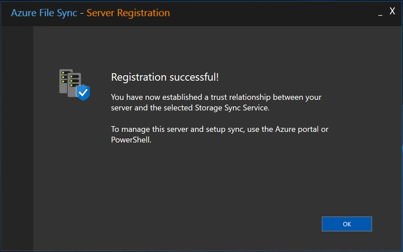 Azure File Sync - Server Registration - Success