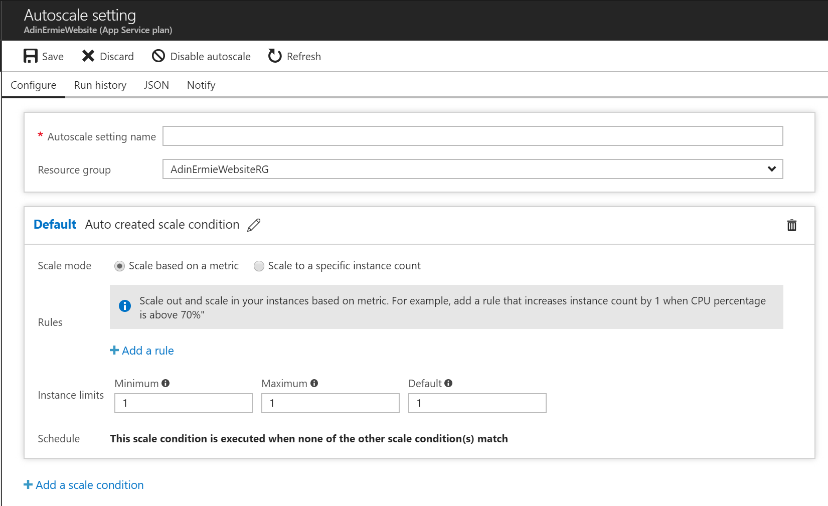 Azure Web App - App Service Plan - Auto Scale Settings