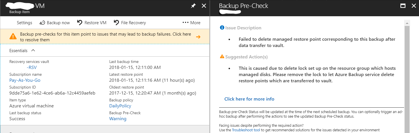 Azure Backup - Backup Pre-Check - Warning Message