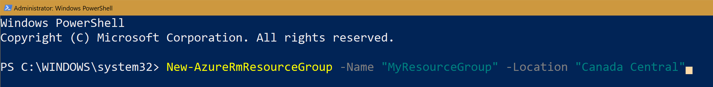 PowerShell command to create a new Azure Resource Group