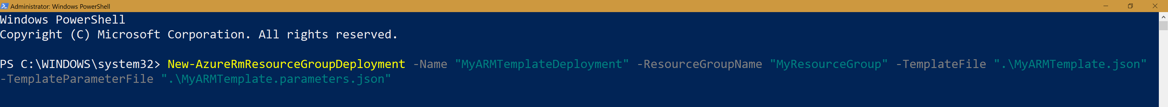 PowerShell command to deploy an Azure Resource Manager (ARM) template