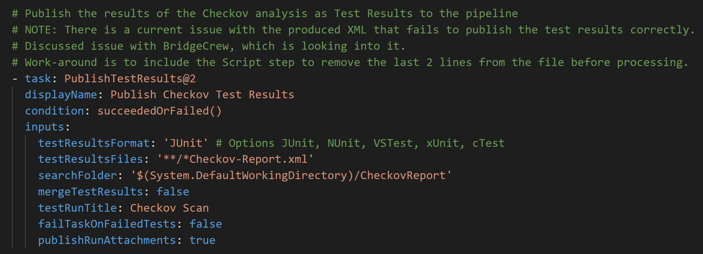 Checkov - Publish Test Results Task