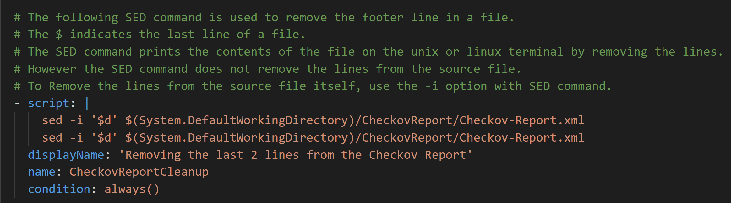 Checkov - Test Results - Line Removal Script